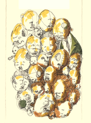 olive heads (about 30) ink and marker on paper
